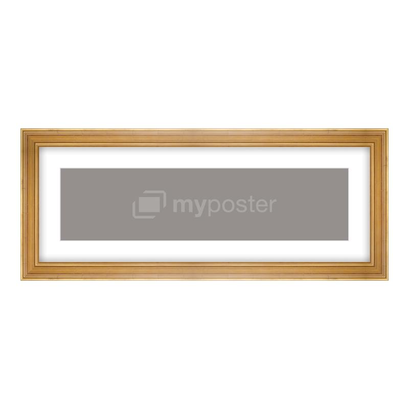 Bilderrahmen aus Holz antik in gold als Panorama im Format 80 x 20 cm