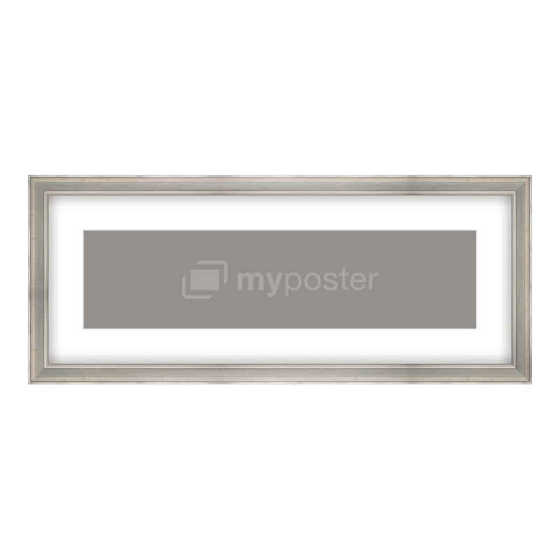 Bilderrahmen aus Holz antik in silber als Panorama im Format 100 x 25 cm