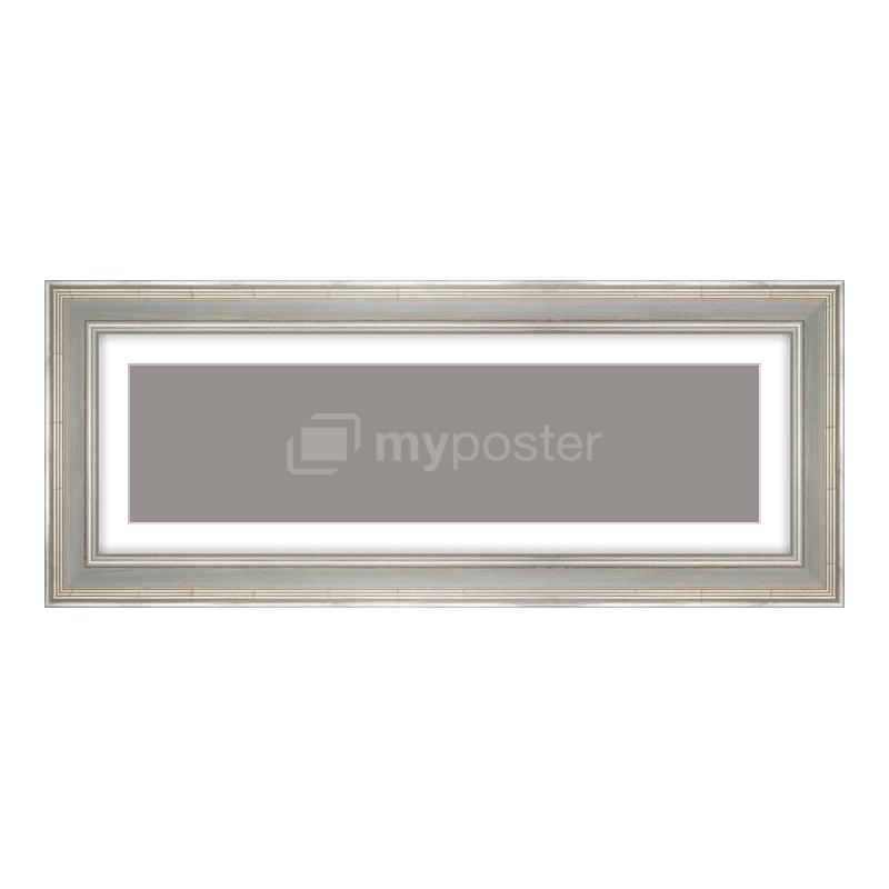 Bilderrahmen aus Holz antik in silber als Panorama im Format 60 x 15 cm