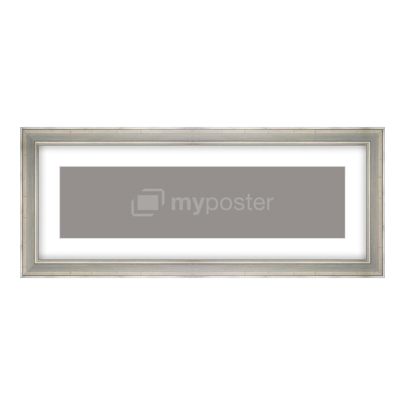 Bilderrahmen aus Holz antik in silber als Panorama im Format 80 x 20 cm