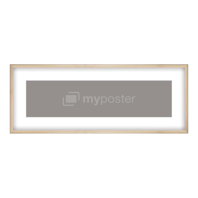 Bilderrahmen aus Holz gebürstet in gold als Panorama im Format 100 x 25 cm