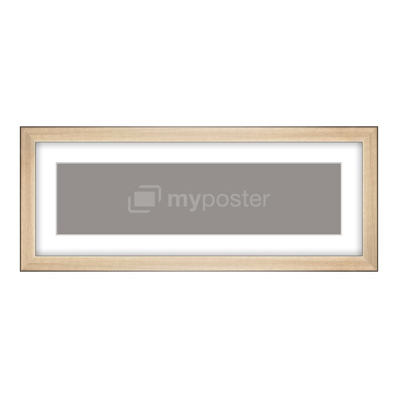 Bilderrahmen aus Holz gebürstet in gold als Panorama im Format 40 x 10 cm