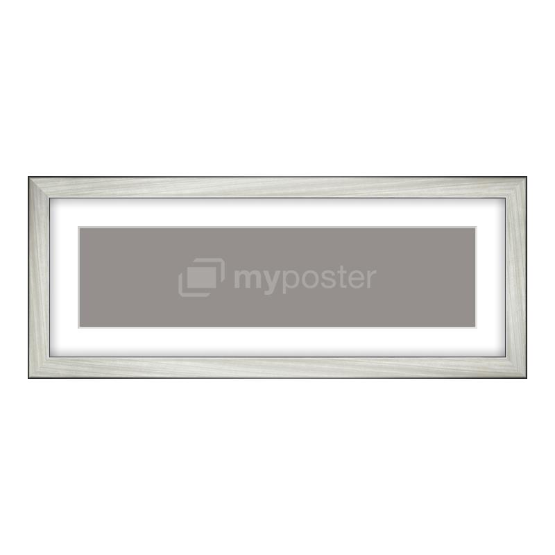 Bilderrahmen aus Holz gebürstet in silber als Panorama im Format 40 x 10 cm