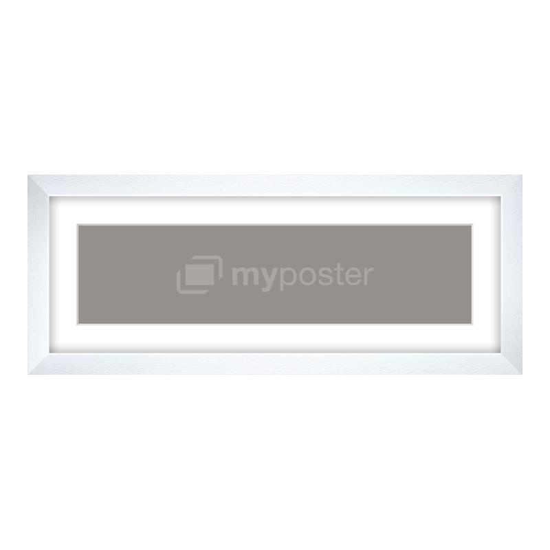 Bilderrahmen aus Holz gemasert in weiß als Panorama im Format 40 x 10 cm