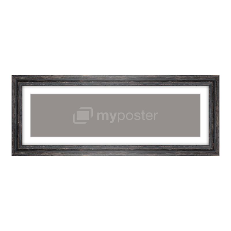 Bilderrahmen aus Holz Vintage in schwarz als Panorama im Format 60 x 15 cm