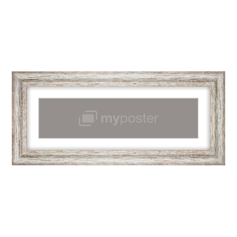 Bilderrahmen aus Holz Vintage in weiß als Panorama im Format 40 x 10 cm
