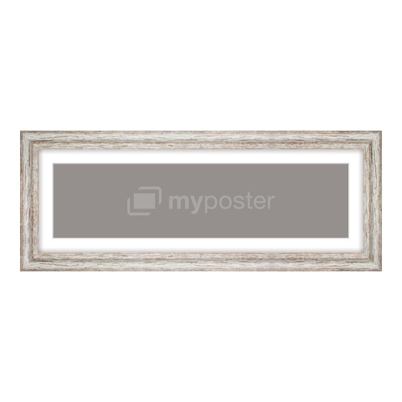 Bilderrahmen aus Holz Vintage in weiß als Panorama im Format 60 x 15 cm
