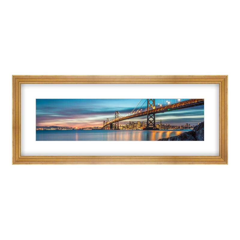 Fotopanorama im Bilderrahmen aus Holz antik in gold als Panorama im Format 100 x 25 cm