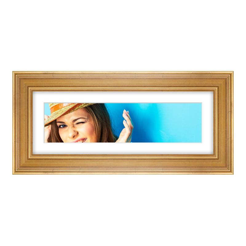 Fotopanorama im Bilderrahmen aus Holz antik in gold als Panorama im Format 40 x 10 cm