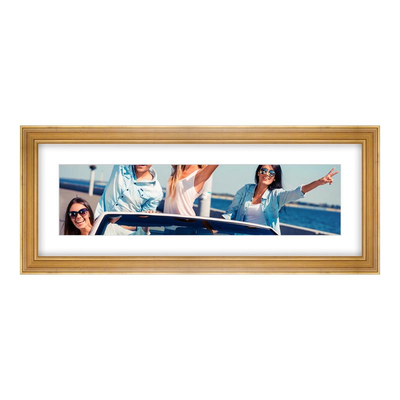 Fotopanorama im Bilderrahmen aus Holz antik in gold als Panorama im Format 80 x 20 cm