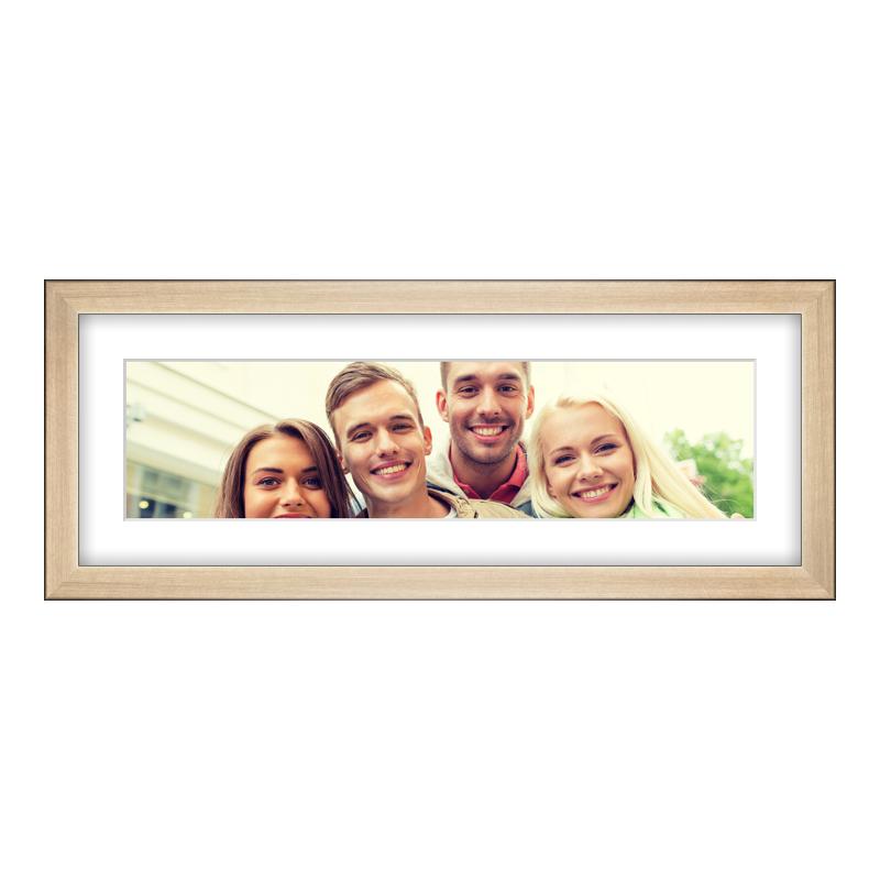 Fotopanorama im Bilderrahmen aus Holz gebürstet in gold als Panorama im Format 40 x 10 cm