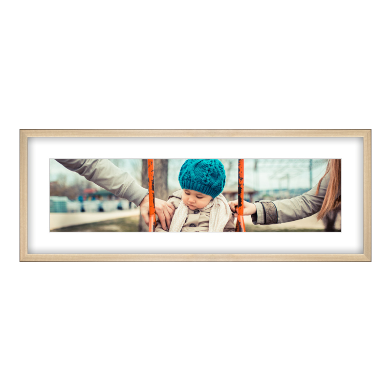 Fotopanorama im Bilderrahmen aus Holz gebürstet in gold als Panorama im Format 80 x 20 cm