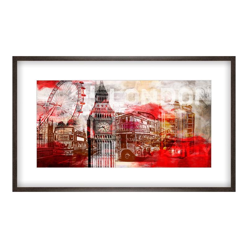 London Bilder Collage Poster drucken im Holzrahmen gemasert in br bei Myposter.de