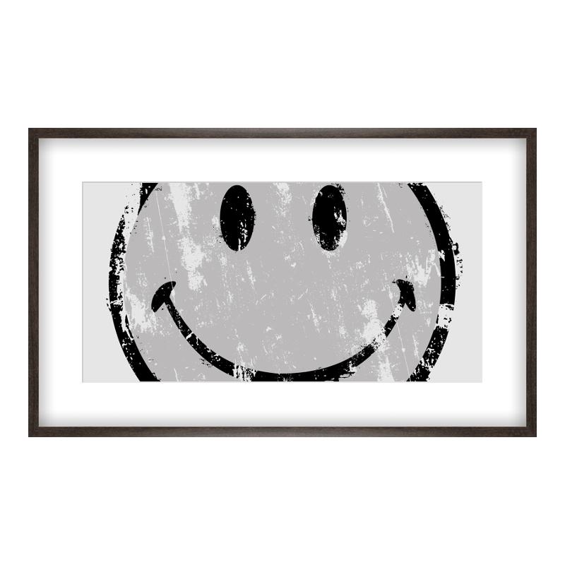 Smiley Bild Poster drucken im Holzrahmen gemasert in braun bei Myposter.de