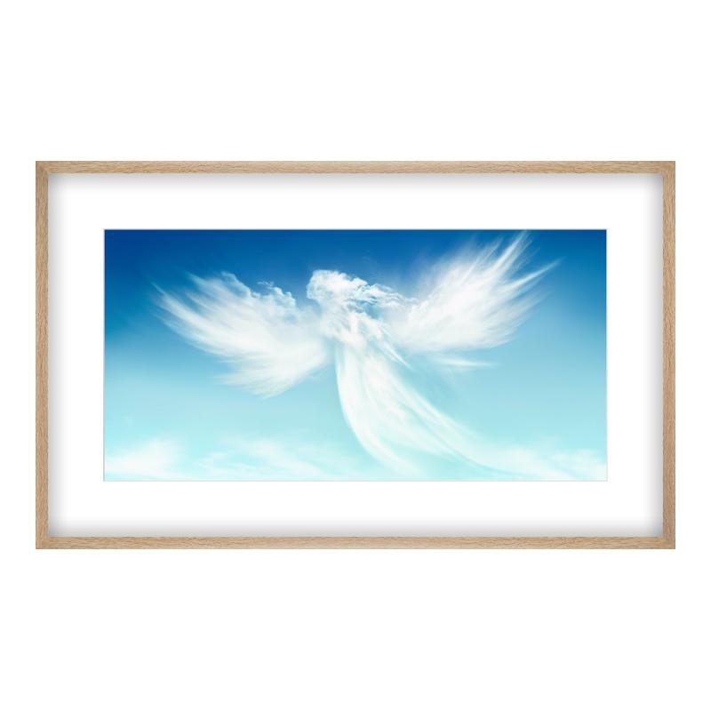 Engel Motiv Poster drucken im Holzrahmen Eiche ...