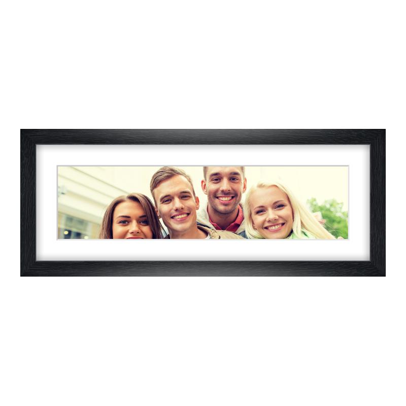 Fotopanorama im Bilderrahmen aus Holz gemasert in schwarz als Panorama im Format 40 x 10 cm