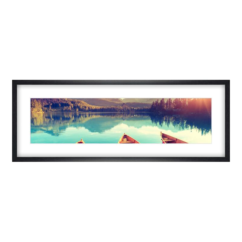 Fotopanorama im Bilderrahmen aus Holz gemasert in schwarz als Panorama im Format 80 x 20 cm