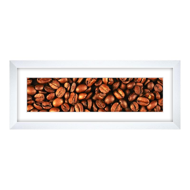 Fotopanorama im Bilderrahmen aus Holz gemasert in weiß als Panorama im Format 40 x 10 cm