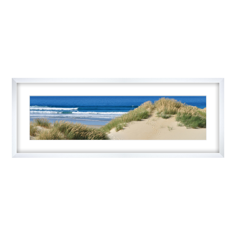 Fotopanorama im Bilderrahmen aus Holz gemasert in weiß als Panorama im Format 80 x 20 cm