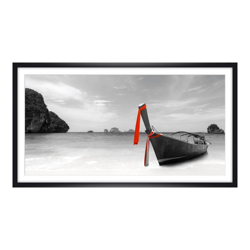 Boote Strand Thailand Poster drucken im Holzrah...