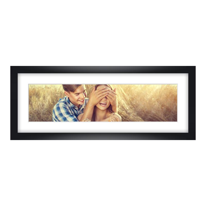 Express Fotopanorama im Bilderrahmen aus Holz in schwarz als Panorama im Format 40 x 10 cm