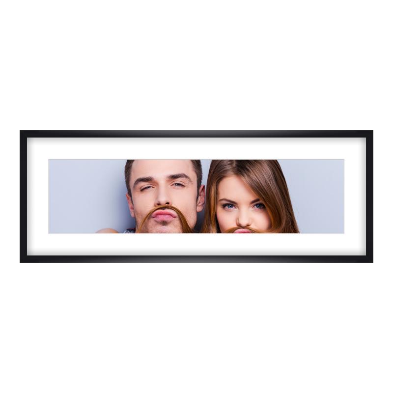 Express Fotopanorama im Bilderrahmen aus Holz in schwarz als Panorama im Format 80 x 20 cm