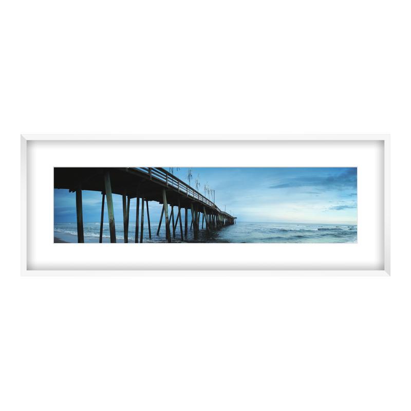 Express Fotopanorama im Bilderrahmen aus Holz in weiß als Panorama im Format 100 x 25 cm