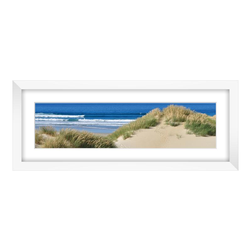 Express Fotopanorama im Bilderrahmen aus Holz in weiß als Panorama im Format 40 x 10 cm